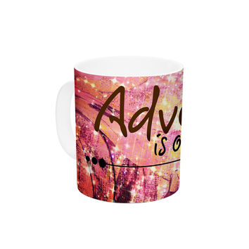 """Ebi Emporium """"Adventure is Out There"""" Pink Typography Ceramic Coffee Mug"""