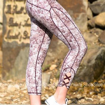 Athletic Sports Capris | Burgundy Lightning