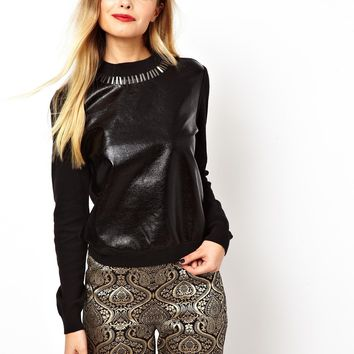 er With Metallic Leather Look Front and Embellished Neck