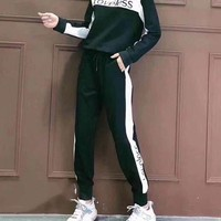 """Loveless""  Fashion Casual Letter Embroidery Sleeve head Long Sleeve Trousers Set Two-Piece Sportswear"