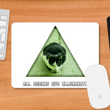 All Seeing Eye Illuminati Cat Mousepad | Artist : Nitin Kapoor