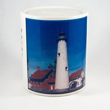 Coin Bank, Ceramic, Tawas Point Lighthouse Design