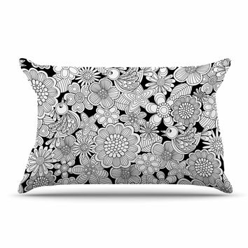 "Julia Grifol ""Welcome White Birds"" Black Floral Pillow Sham"