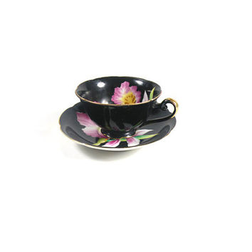 Japanese Vintage Tea Cup And Saucer Black Purple Orchid Gold Trimmed 1940s China