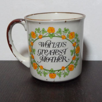 Vintage Danish Style World's Greatest Mother Floral Stoneware Coffee Cup Mug - Mid Century Modern