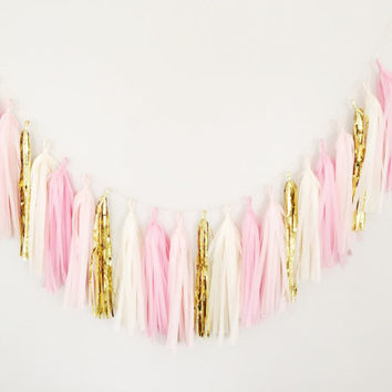 Pink and Cream Tassel Garland - Pink Party Decor, Pink Wedding Decor, Pink Baby Shower & Pink Gender Reveal Photo Prop