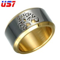 US7 Punk Cool Rotatable Ring Stainless Steel Wisdom Tree Of Life Rings For Men Women Anniversary Jewelry Bague Femme