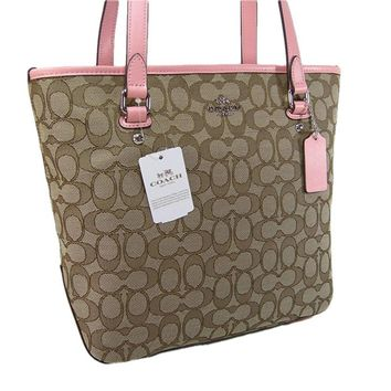 New Coach C Signature Logo Purse Tote Shoulder Hand Bag Khaki Blush Tan Outline