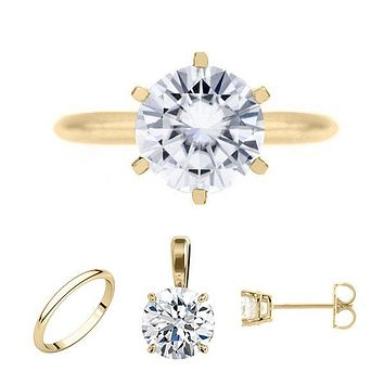 FAB Round Moissanite 6 Prong Ring Complete 14K Yellow Gold Solitaire Wedding Set