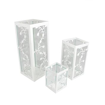 """Set of 3 White French Country Garden Floral Pillar Candle Holder Lanterns 12"""""""
