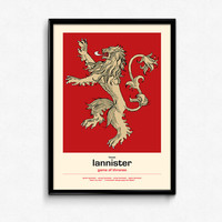 Game Of Thrones Poster House Lannister Sigil - A Lannister Always Pays His Debts - Art Print, More Sizes - 8x10 to 24x36 - Retro Movie Style