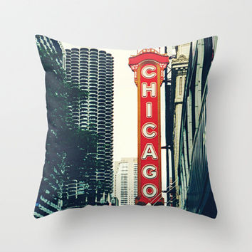 Photo Pillow Cover Chicago Theatre Sign Photography Chicago Photo Art Illinois Home Decor Midwest City Street Pillow Case 16x16 18x18 20x20