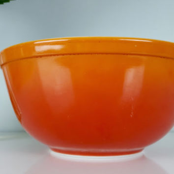 Vintage Pyrex 403 Flameglo Flame Glow Nesting Bowl, Orange Pyrex Mixin Bowl, Ombre Pyrex, Red Pyrex, Large Mixing Bowl, Vintage Kitchen Bowl