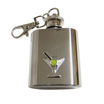 Silver Toned Detailed Martini Glass 1 Oz. Stainless Steel Key Chain Flask