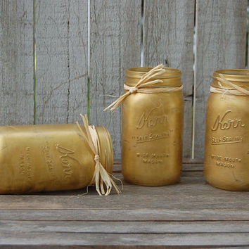 Painted Mason Jars, Shabby Chic, Gold, Hand Painted, Distressed, Rustic, Fall, Autumn, Christmas