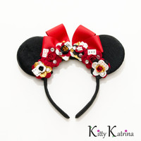 Queen of Hearts Mouse Ears Inspired Headband, Queen of Hearts Crown, Disney Ears, Queen of Hearts Dress, Queen of Hearts Costume, Disneyland