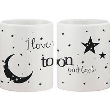 I Love You to the Moon and Back Couple Mugs - His and Hers Matching Cup