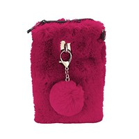 Burgundy Faux Fur Pom Pom Keychain Clutch Chain Purse