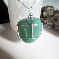 Wire Wrapped Green Aventurine Crystal Pendant Necklace, crystal healing jewelry, vegan