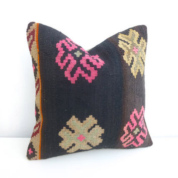 Brown Decorative Kilim Pillow with Large flowers