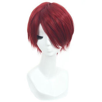 L-email wig Anime Free! Iwatobi Swim Club Cosplay wig Rin Matsuoka 30cm Short Red Straight Hair Burgundy Cosplay Wigs