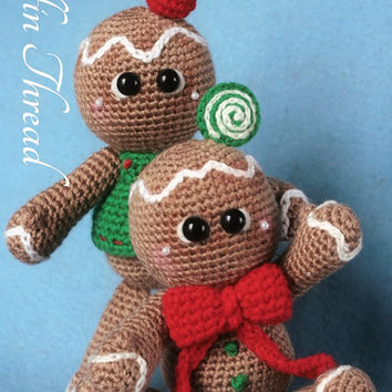 Elfin Thread - Gingerbread Cookies Dolls Amigurumi PDF Pattern (Crochet Gingerbread Man Pattern)