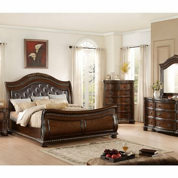 Home Elegance 1945-5PC 5 pc chaumont collection burnished brown finish wood tufted and padded carved accents bedroom set