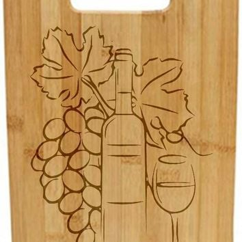 Laser Engraved Cutting Board - Grapes bottle and glass