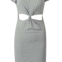 Grey Knotted Cut-Out Waist Bodycon Midi Dress