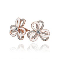 18K Rose Gold Plated Crystal and White Enamel Double Layered Flower Stud Earrings