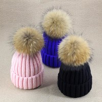 2017 Women's Hats Candy Color Knitted Winter Hats For Women Knit Cap Crimping Raccoon Faux Fur Ball Beanie Female Thick Warm Hat