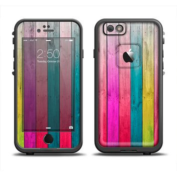 The Vibrant Neon Colored Wood Strips Apple iPhone 6 LifeProof Fre Case Skin Set