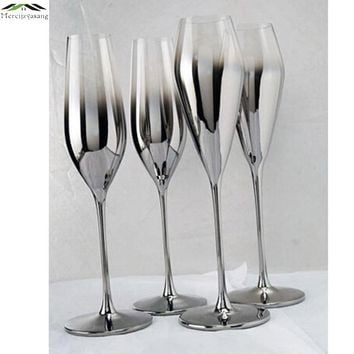 New Gloss Silver finish metal champagne flutes Crystal for wedding/party red wine glass