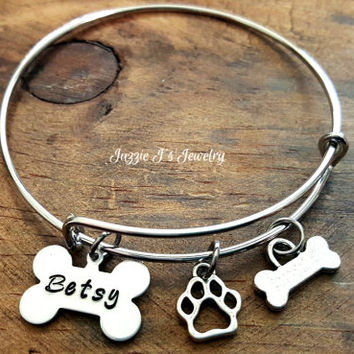 Dog Lover Bangle Bracelet, Pet Name Bracelet, Customized Pet Lover Bracelet, Pet Remembrance Bracelet, Gift for Dog Lover, Dog Bone Bangle
