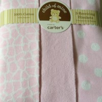 Carter's Child of Mine Pink White Giraffe Print Dots Solid Baby Newborn Receiving Blanket Set of 3 Blankets