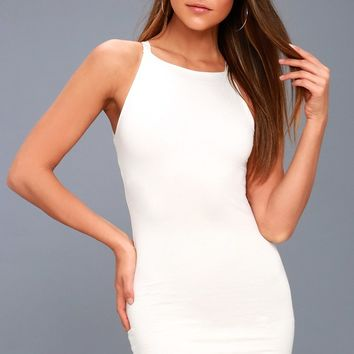 I Bet White Bodycon Dress
