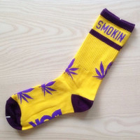 Custom Marijuana Weed Cannabis Unisex Adult Cotton Crew Socks Purple and Yellow Lakers Colors PREORDER Gift Idea