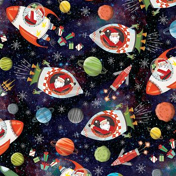 Bulk Ream Roll Christmas Gift Wrap Wrapping Paper, Space Santa