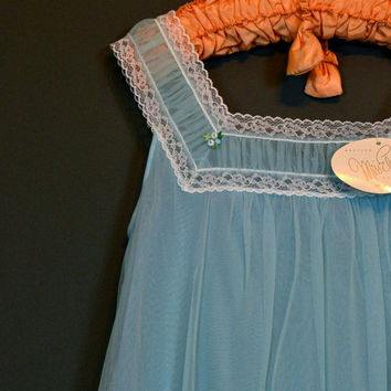 Powder Blue Chiffon ~ Vintage 60s Babydoll Nightgown S ~ Miss Elaine ~ Deadstock