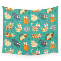 Society6 Whole Lotta Cat (Natural Version) Wall Tapestry