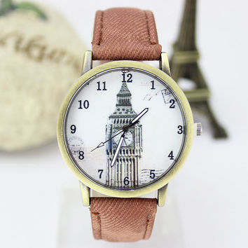 intage London Style Big Ben Watch with Denim Strap Wrist