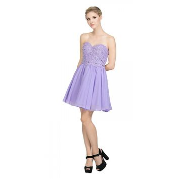 Chiffon A Line Short Homecoming Dress Lilac Strapless