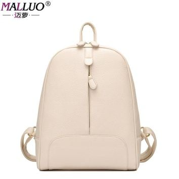 MALLUO Backpacks Preppy Style Leather School Backpack Bag For College Student Solid Design Women Casual Daypacks Mochila New