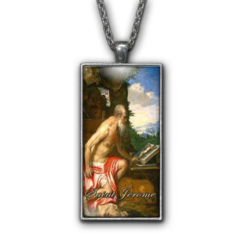 Saint Jerome Painting Religious Pendant Necklace Jewelry
