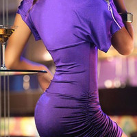 Purple Short Sleeve Zippered Bodycon Dress