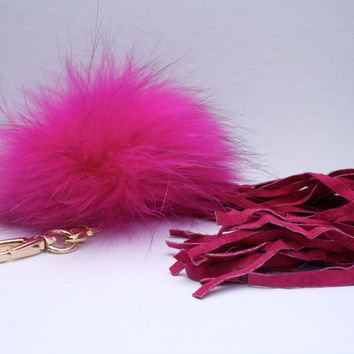 New bag tassel charm hot pink Raccoon Fur Pom Pom bag pendant with pink tassel