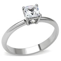 Promise Me - Square-cut white cubic zirconia solitaire stainless steel promise ring