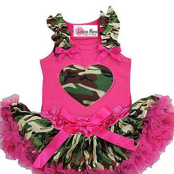 Newborn Baby Pettiskirt Set- Camo Heart  Infant Tutu - New Born Baby Tutu Set - Baby Shower Gifts -