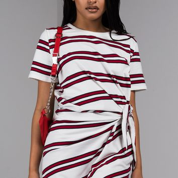 Striped Casual Knit Mini Dress in White