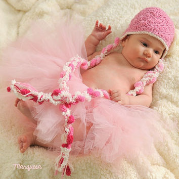 Crochet Earflap Baby Hat - Infant Hat with braids in Pink with cream flower